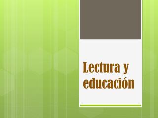 Lectura y educación