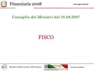 Consiglio dei Ministri del 28.09.2007
