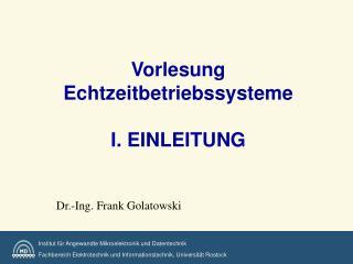 Vorlesung Echtzeitbetriebssysteme I. EINLEITUNG