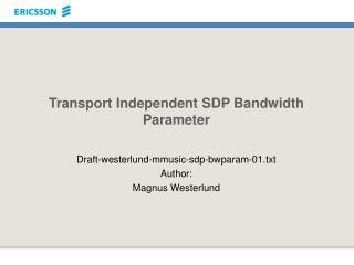 Transport Independent SDP Bandwidth Parameter