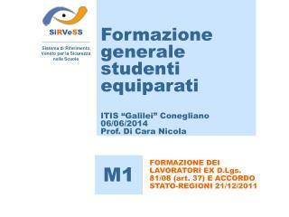 """Formazione generale studenti equiparati ITIS """"Galilei"""" Conegliano 06/06/2014  Prof. Di Cara Nicola"""