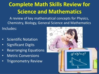 Complete Math Skills Review for Science and Mathematics