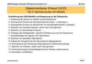 Objektorientierter Entwurf (OOD) Teil 2: Optimierung des OO-Modells