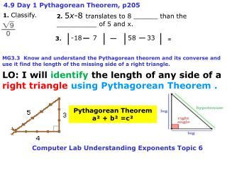 4.9 Day 1 Pythagorean Theorem, p205
