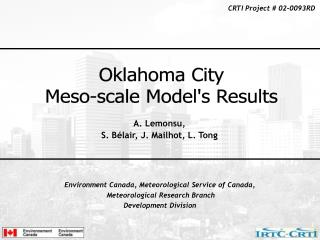 Environment Canada, Meteorological Service of Canada, Meteorological Research Branch