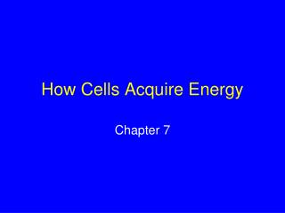 How Cells Acquire Energy
