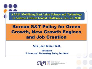 Suk Joon Kim, Ph.D. President Science and Technology Policy Institute