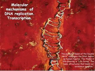 Molecular mechanisms of DNA replication. Transcription.