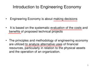 Introduction to Engineering Economy