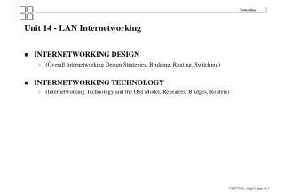 Unit 14 - LAN Internetworking INTERNETWORKING DESIGN