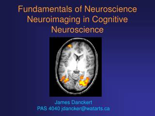 Fundamentals of Neuroscience Neuroimaging in Cognitive Neuroscience