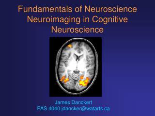 Fundamentals of Neuroscience Neuroimaging in Cognitive Neuroscience
