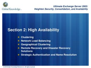 Section 2: High Availability