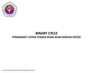 BINARY CYCLE PEMBANGKIT LISTRIK TENAGA PANAS BUMI DENGAN SISTEM