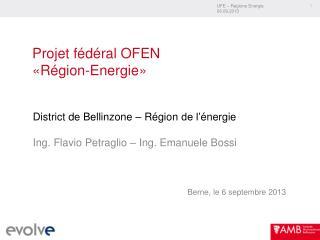 Projet fédéral OFEN «Région-Energie»