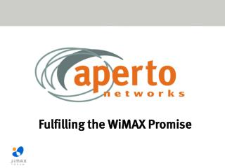 Fulfilling the WiMAX Promise