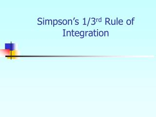 Simpson's 1/3 rd  Rule of Integration