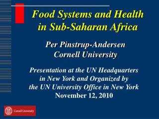 Food Systems and Health in Sub-Saharan Africa