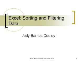 Excel: Sorting and Filtering Data