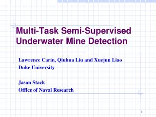 Multi-Task Semi-Supervised Underwater Mine Detection