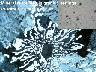 Mineral resources in granitic settings The magmatic – hydrothermal continuum