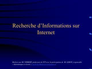 Recherche d'Informations sur Internet