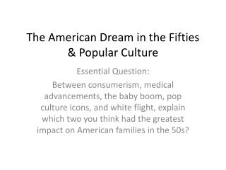 The American Dream in the Fifties & Popular Culture