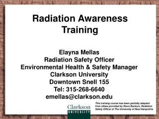 Radiation Awareness Training