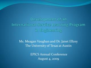 Development of an  International Service Learning Program in Engineering