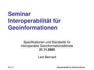 Seminar Interoperabilität für Geoinformationen