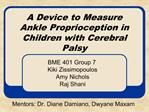 A Device to Measure Ankle Proprioception in Children with Cerebral Palsy