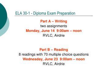ELA 30-1 - Diploma Exam Preparation