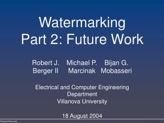 Watermarking Part 2: Future Work