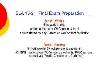ELA 10-2 Final Exam Preparation