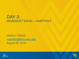 Day 3: MICROSOFT EXCEL – CHAPTER  2