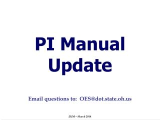 PI Manual Update