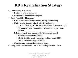 RD's Revitalization  Strategy