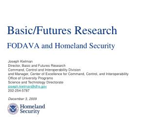 Basic/Futures Research FODAVA and Homeland Security