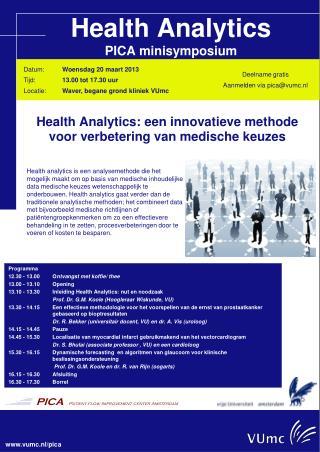 Health Analytics PICA minisymposium