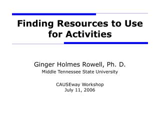 Finding Resources to Use for Activities