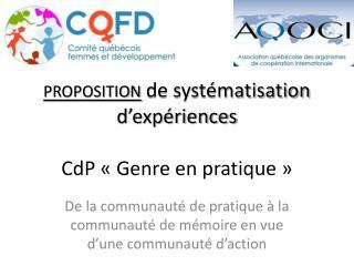 proposition de systématisation d'expériences CdP «Genre en pratique»