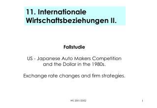 11. Internationale Wirtschaftsbeziehungen II.