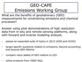 GEO-CAPE  Emissions Working Group