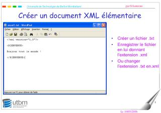 Créer un document XML élémentaire