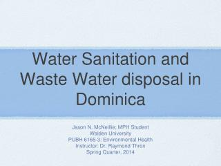 Water Sanitation and Waste Water disposal in Dominica