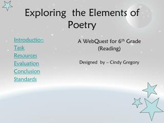 Exploring  the Elements of Poetry