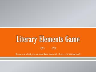 Literary Elements Game