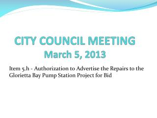CITY COUNCIL MEETING March 5, 2013