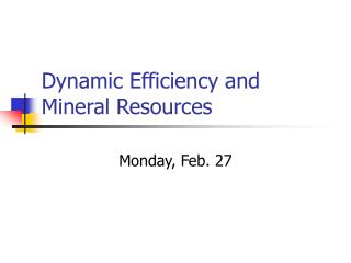 Dynamic Efficiency and Mineral Resources