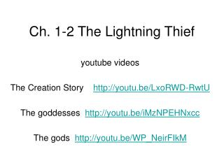 Ch. 1-2 The Lightning Thief